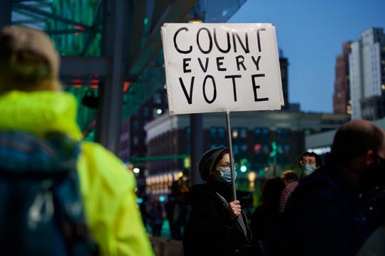 """Betsy Camardo of Hazel Park stands with a dog that says """"Count Every Vote"""" outside of TCF Center in Detroit on Nov. 4, 2020."""