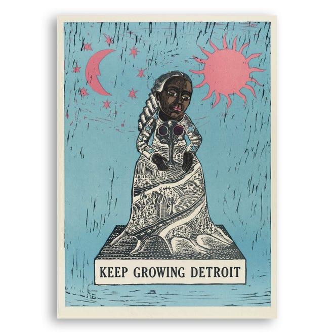 """Sebuah cetakan dari Signal Return's """"On Press: Cetakan untuk Lembaga Nonprofit"""" seri yang menampilkan seniman dan organisasi Detroit."""