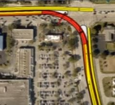 Area in red marks the route of a flyover ramp that would take traffic from Summerlin Road to Colonial Boulevard. It is one alternative offered to Lee County commissioners to alleviate chronic traffic after rush hour congestion at the intersection, especially in the afternoon when Cape Coral residents are heading for the Midpoint Bridge and a trip home across the river.