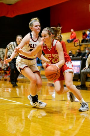 West Lafayette's Kennedy Martin (22) dribbles around Clinton Prairie's Kylee Maish (22) during the fourth quarter of an IHSAA girls basketball game, Tuesday, Nov. 17, 2020 in Frankfort.