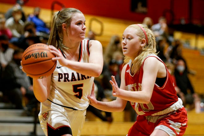 West Lafayette's Vivian Huston (20) guards Clinton Prairie's Hannah Wilson (5) during the fourth quarter of an IHSAA girls basketball game, Tuesday, Nov. 17, 2020 in Frankfort.