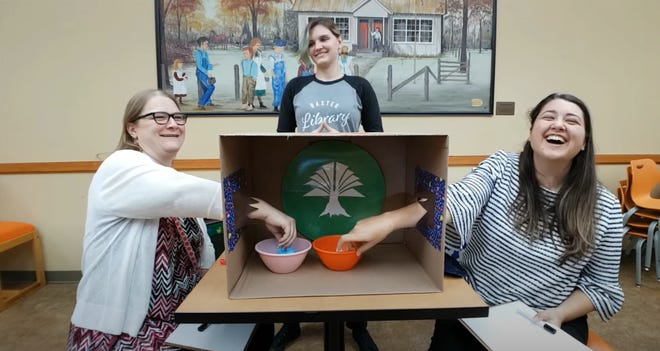 "Baxter County librarians attempt to complete wacky challenges, answer popular children's book trivia questions and guess the identity of curious objects in the library's ""Challenge a Librarian"" YouTube video series."