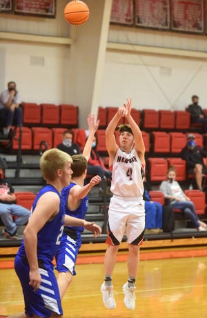 Norfork's Isaiah Morris shoots a 3-pointer against Shirley on Tuesday night.