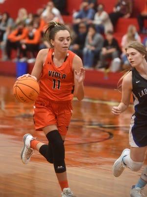 Viola's Sami McCandlis drives to the basket during a recent game.