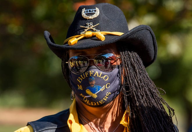 "Vanessa ""Butterfly"" Robertson, president of the Montgomery Chapter of the Buffalo Soldiers, during an outing in Montgomery, Ala., on Saturday November 14, 2020."