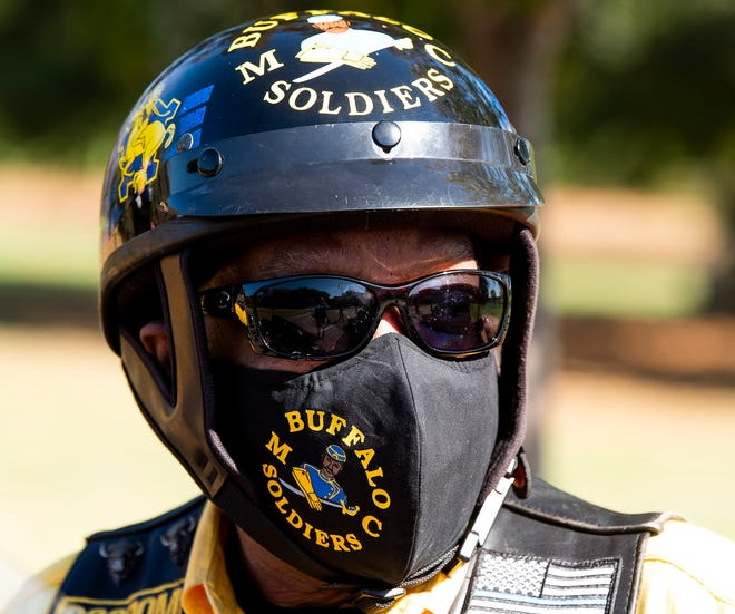 "Montgomery Chapter of the Buffalo Soldiers Motorcycle Club member Leonard ""Bugg"" Haywood during an outing in Montgomery, Ala., on Saturday November 14, 2020."