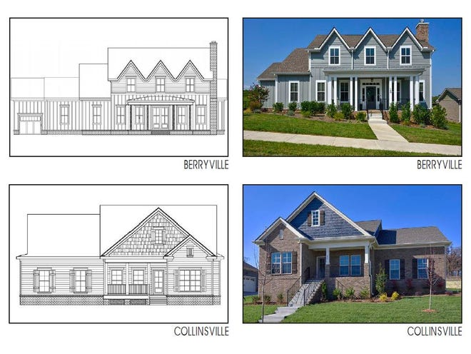 A few of the proposed home plans for The Neighborhood at Bowie Park development proposed for Fairview.