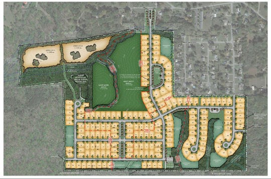 Site plan for The Neighborhood at Bowie Park development proposed for Fairview.
