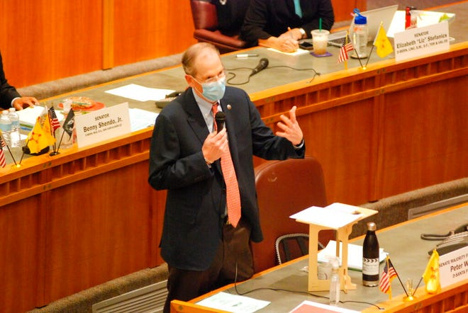 New Mexico Democratic Senate majority leader Peter Wirth, of Santa Fe, guides a floor debate Saturday, June 20, 2020, at the Capitol in Santa Fe, N.M. The New Mexico Legislature met in a special session to address a gaping budget hole linked to the coronavirus and economic upheaval. Gov. Michelle Lujan Grisham also urged legislators to enact policing and temporary election reforms.