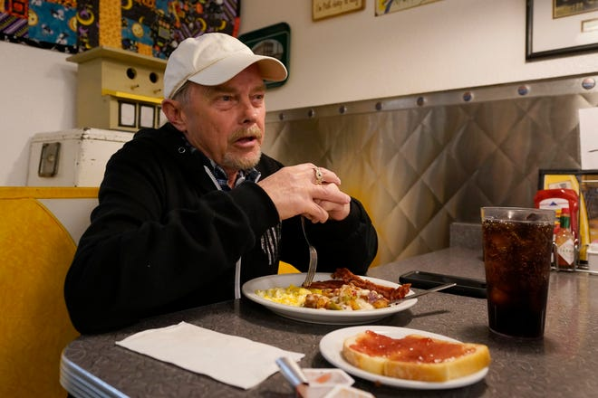 Rick Patrick discusses Gov. Gavin Newsom's most recent lockdown due to the COVID-19 pandemic during an interview with the Associated Press at Linda's Soda Bar and Grill in the Sutter County Community of Yuba City, Calif., on Tuesday, Nov. 17, 2020.