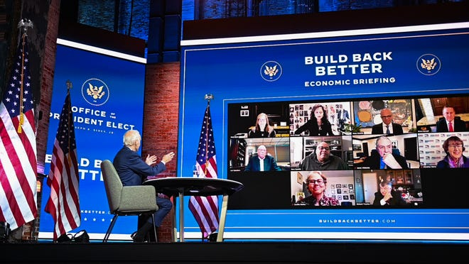 US President-elect Joe Biden speaks to business and labor leaders during a virtual meeting at The Queen in Wilmington, Delaware on November 16, 2020. (Roberto Schmidt/AFP via Getty Images/TNS)