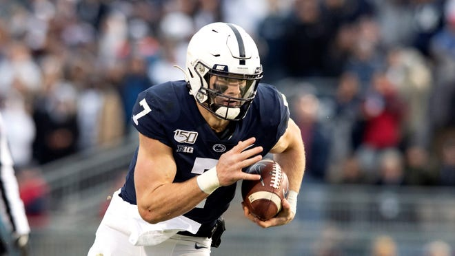 Penn State quarterback Will Levis (7) in action against Rutgers during an NCAA college football game in State College, Pa., on Saturday, Nov. 30, 2019. (AP Photo/Barry Reeger)
