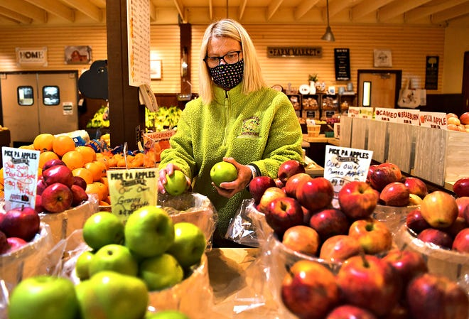 Associate Julie Rudy restocks baskets of apples at Brown's Orchards & Farm Market in Springfield Township, Wednesday, Nov. 18, 2020. Dawn J. Sagert photo