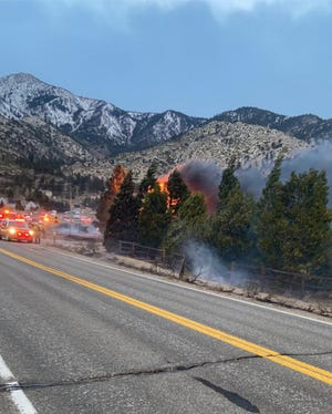 Douglas County tweeted this photo from the fire near Mottsville west of Gardnerville.