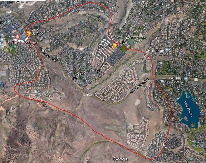 El área de evacuación del incendio de Pinehaven en West Reno.