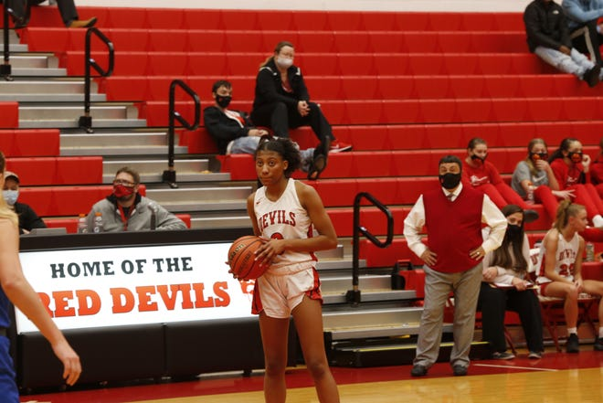 Junior guard Jayci Allen winds down the clock before halftime against Greenfield-Central on Nov. 17, 2020.