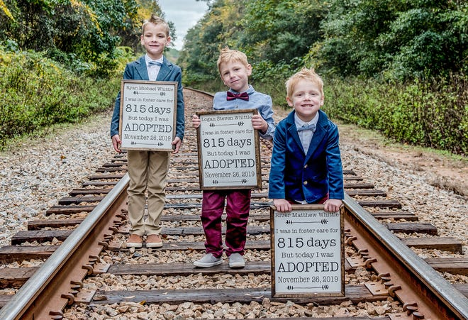 Ryan, Logan and River Whittle were adopted by the Whittles in 2019.