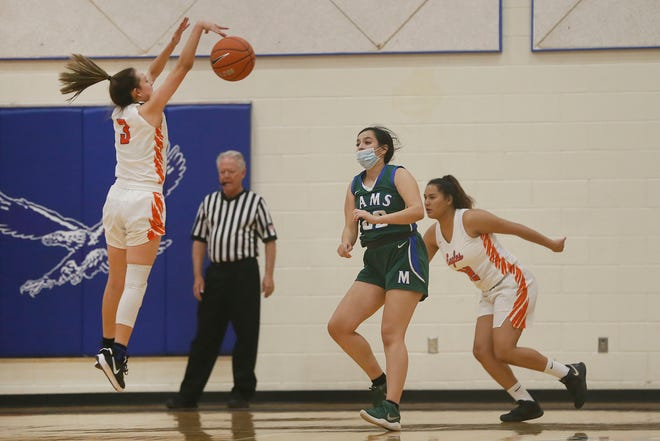 Canutillo's Kimberly Cruz blocks a pass during the game against Montwood Tuesday, Nov. 17, at Canutillo High School in El Paso.