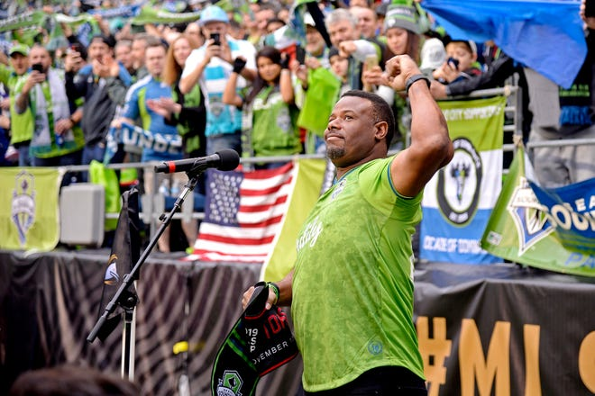 Ken Griffey Jr. before the 2020 MLS Cup between the Seattle Sounders and the Toronto FC at CenturyLink Field.