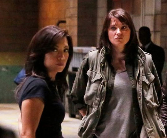 """Ming-Na Wen, left, and Lucy Lawless in """"Agents of S.H.I.E.L.D.,"""" where the two became friends, bonding over their warrior princess status."""