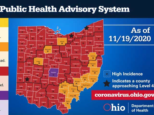 Ohio Covid 19 Map Franklin County Purple Northeast Ohio Mostly Red