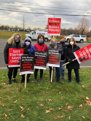 Striking nurses from the St. Mary Medical Center Neonatal Intensive Care Unit who are picketing outside the hospital in Middletown this week include (from left) Patricia Arcidiacono, Ellen Stevenson, Andrea Bernardo, Dawn Devine, Marlyn Andreozzi and Sharon Miller.