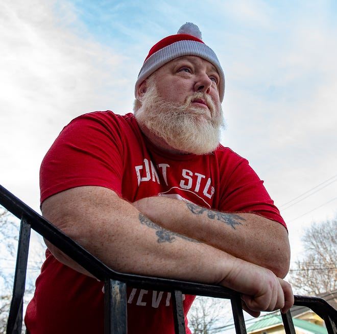 Rob Piazza, of Bristol Borough, reflects on having Santa's suit stolen from his car, Thursday.