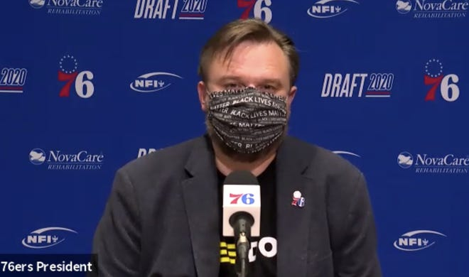 Sixers president of basketball operations Daryl Morey speaks with the media early Thursday morning.
