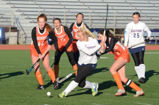 Eastern junior Ryleigh Heck winds up to take a shot against Cherokee