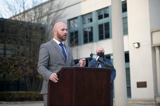 Beaver County Commissioner Daniel Camp, shown during a press briefing Thursday outside of the courthouse, said allegations by its largest union that officials aren't implementing COVID-19 mitigation and prevention policies are not true.