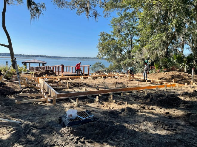 Contractors begin work on a plaza and turnaround at the end of Calhoun Street, the final phase of the Calhoun Street Public Dock project.