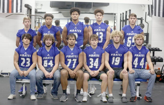 The Boonville Pirates football team had 11 players selected in 15 positions during the Tri-County All-Conference selections for the 2020 season. Players selected all-conference for Boonville were (front row, left to right) Evan Gonzalez, Harper Stock, Saylor Marquez, Andrew Wiser, Charllie Bronakowski and Lane West. (back row, left to right) Ross Brackman, DaWan Lomax, DJ Wesolak, Jamesian McKee and Peyton Hahn.