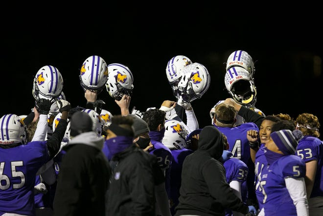 DeSales celebrates a playoff win over Jonathan Alder on Oct. 30.