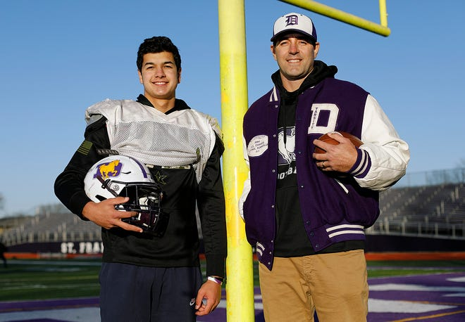 DeSales defensive end Matthew Stewart and his father, former DeSales star Matt Stewart, are among several current and former Stallions football players with family ties.