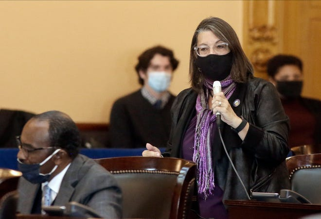 Ohio Senator Nickie Antonio speaks while wearing a mask during a session at the Ohio Statehouse on Wednesday, November 18, 2020.