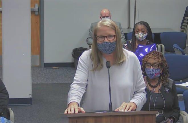 SEIU spokesperson Kim Cronin addresses the Lake County School Board in public comment on Tuesday night.