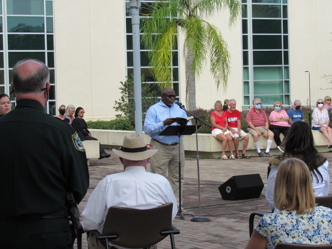 Mt. Calvary Baptist Church of Palm Coast Senior Pastor Edwin Coffie delivers his remarks during the inaugural Prayer Unites event, hosted by nearly two dozen churches across Flagler County.