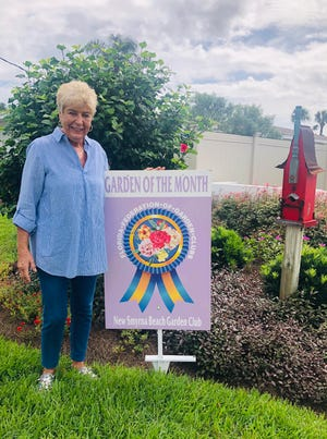 The New Smyrna Beach Garden Club honored Nancy Meddis with October's Garden of the Month award.