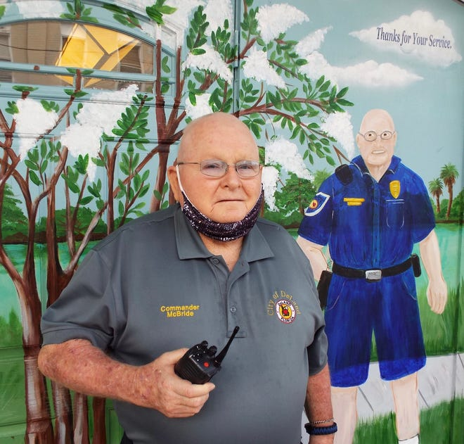 Cmdr. Francis McBride, a longtime police officer who patrolled downtown DeLand on foot for 45 years, has retired. One businessman, Scott Price, had a mural of McBride done as a sign of appreciation for his many years of service.