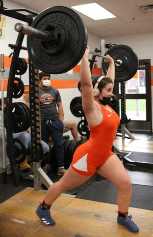 Samantha Roche completed a personal-best clean and jerk of 145 pounds in University's 62-26 weightlifting victory over Pine Ridge on Wednesday. [Photo provided by Natasha Sweet]