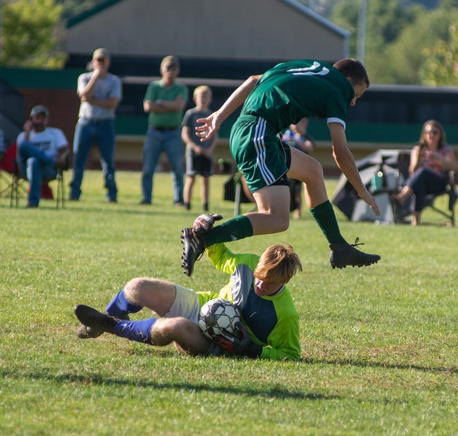 Riverside's Evan Burry was named to All-WPIAL Section 1-1A Finest Fifteen for the 2020 boys high school soccer season. In this September 2019 file photo, Burry leaps over Mohawk goalkeeper Dylan Kerr after Kerr chased down a loose ball during the Panthers' 1-0 win.