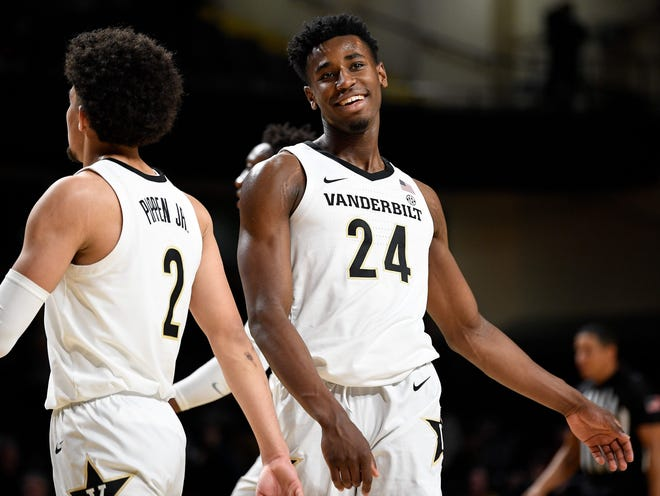 The Celtics took Vanderbilt forward Aaron Nesmith (24) with the No. 14 overall pick in the 2020 NBA Draft.