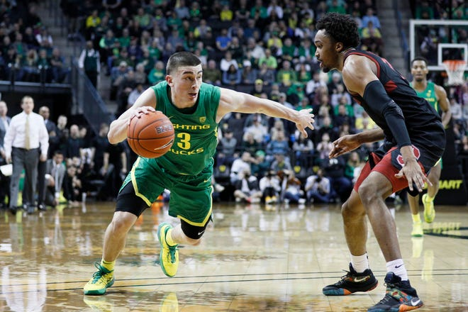 The Boston Celtics selected Oregon Ducks guard Payton Pritchard with the No. 26 overall pick in the 2020 NBA Draft. [USA TODAY Sports, file / Soobum Im]