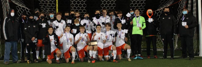 Keshequa poses for a team photo after winning the Section V, Class D1 title Wednesday night in Fillmore.