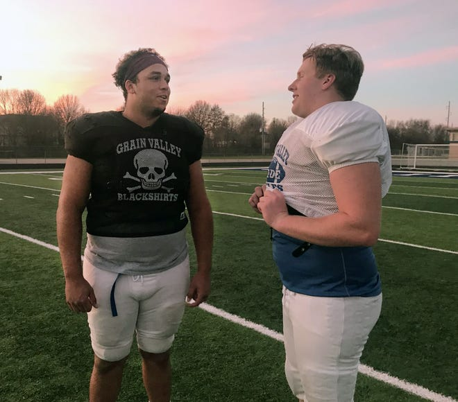 Donovan McBride, left, and Jack Bailey are longtime friends and heart-and-soul players on the Grain Valley offensive line. However, this year the 280-pound McBride never leaves the field as he also starts on the stingy Eagles defensive line. They will be key factors when the Eagles travel to Platte County Friday to play the Pirates in a Class 5 state quarterfinal.