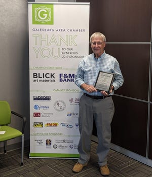 Steve Watts is the recipient of the 2020 Thomas B. Herring Community Service Award. He was recognizedat the Galesburg Chamber of Commerce's annual Thanksgiving Luncheon on Thursday.