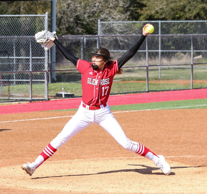 Glen Rose's Taylor McKenzie delivers a pitch during action last season before the COVID-19 pandemic shut down the remainder of the season.
