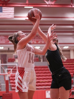 Glen Rose's Hannah Cantwell puts up a shot against Cleburne last Friday.