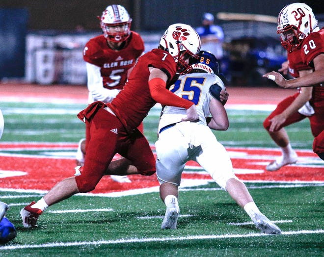 Glen Rose linebacker Jace Karels had 20 tackles on the Tigers' 28-25 playoff loss to Community on Friday.