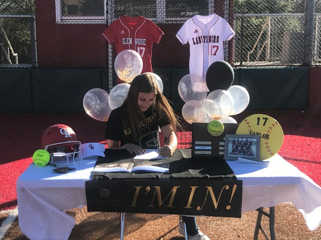 Glen Rose softball player Taylor McKenzie signed a national letter of intent Tuesday to play at Southwestern University in Georgetown.